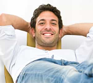 Man feeling at ease from nitrous oxide